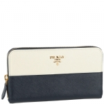 Prada 1M0506   Ziparound Continental Wallet New Logo- Blue/White