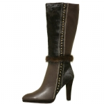 Cochni Leather Tall Dress Boots for Women - Coffee